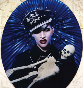 Manson With SS Cap Ornated A Grotesque Skull And Bones Ornament Replacing The Traditional Nazi Totenkopf On Pierre Gilles 2004 Photograph
