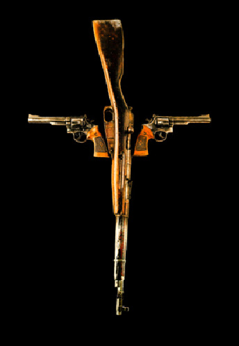 Holy Wood era gun crucifix logo